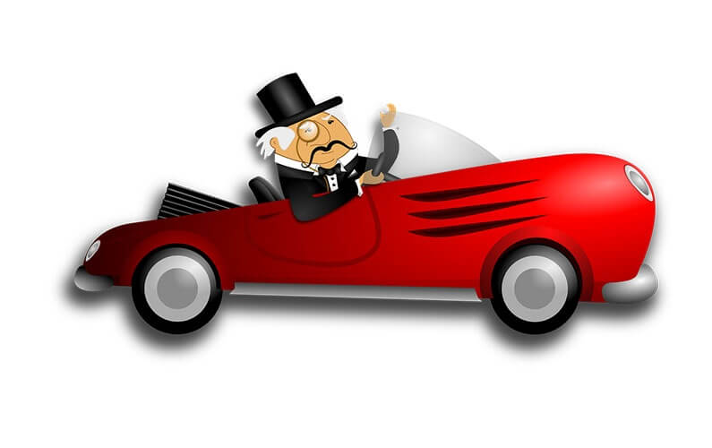 illustration-rich-old-man-driving-a red-sports car
