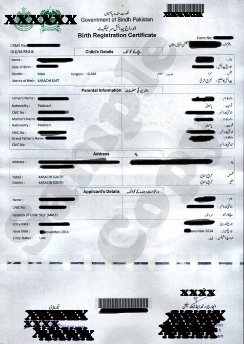 Birth certificate nadra pakistan sample sample document of birth nadra birth certificate sample karachi yadclub Image collections