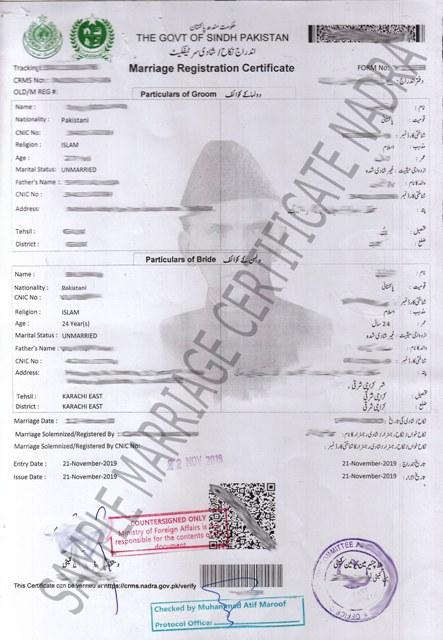 nadra marriage certificate requirements and procedure