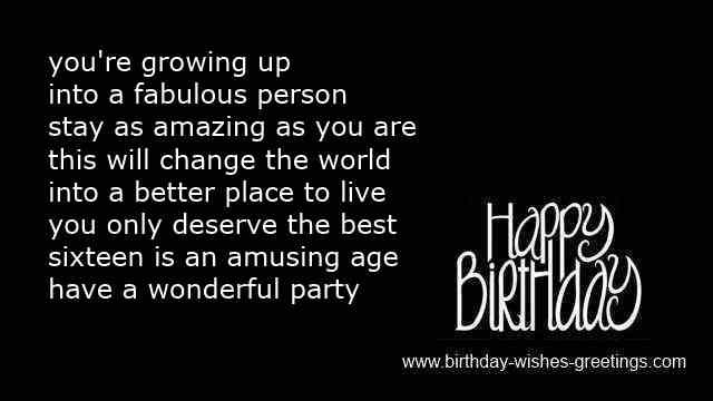 16th Sweet Birthday Poems Best Friend 16 Year Old Bday Wishes