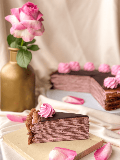 Chocolate Raspberry Cheese Mille Crepe