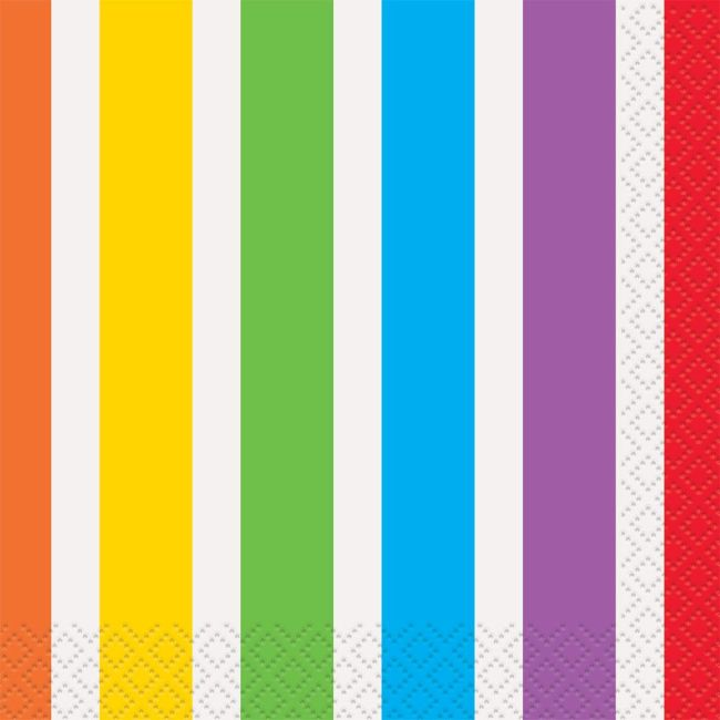 Rainbow Birthday Beverage Napkins (16 Pack) - Party Supplies