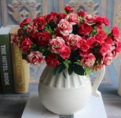 Silk Flowers Bouquet with vase