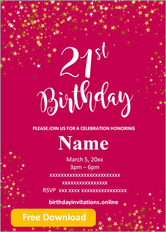 free printable 21st birthday