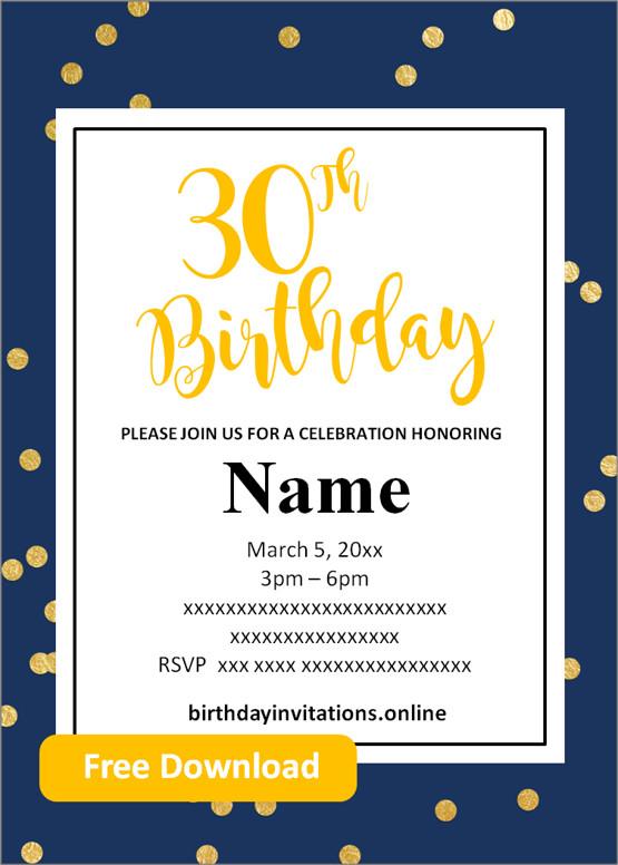 free printable 30th birthday