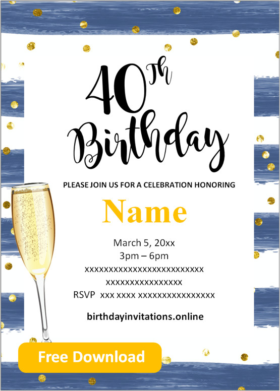 free printable 40th birthday