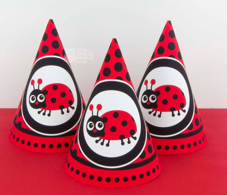 Ladybug Spots And Stripes Birthday Party Hats