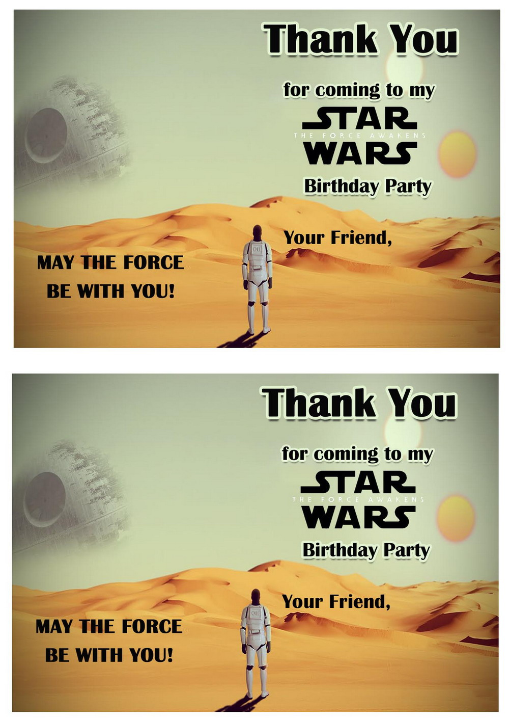 Star Wars Thank You Cards Birthday Printable