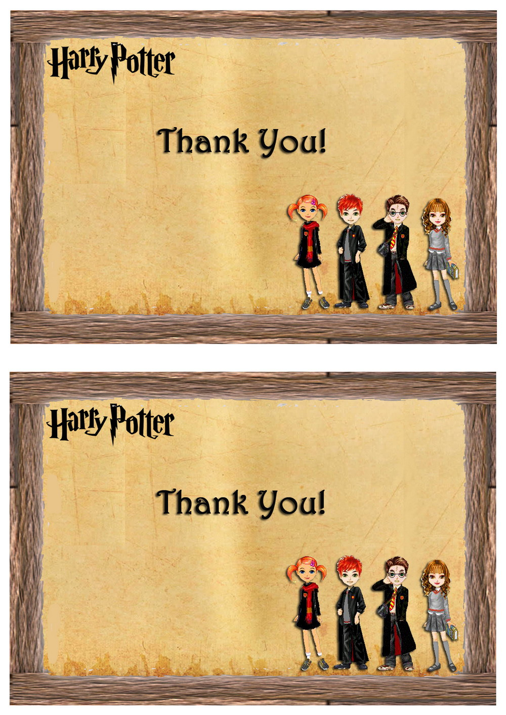Harry Potter Thank You Cards Birthday Printable