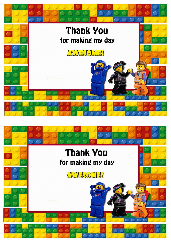 Lego Movie Thank You Cards – Birthday Printable