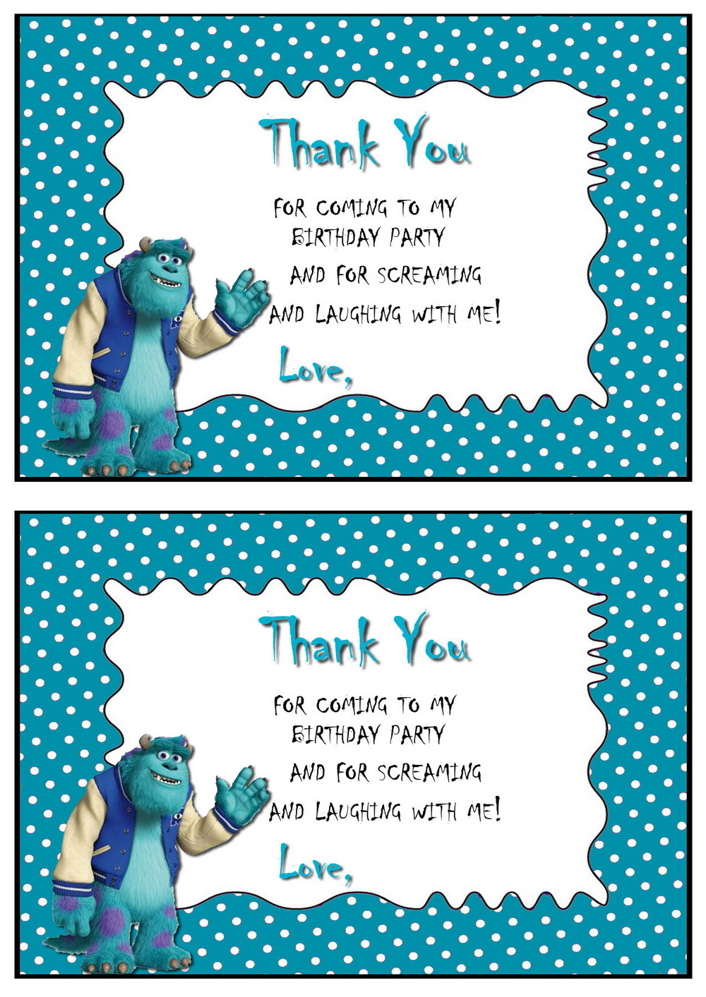 Monsters University Thank You Cards – Birthday Printable