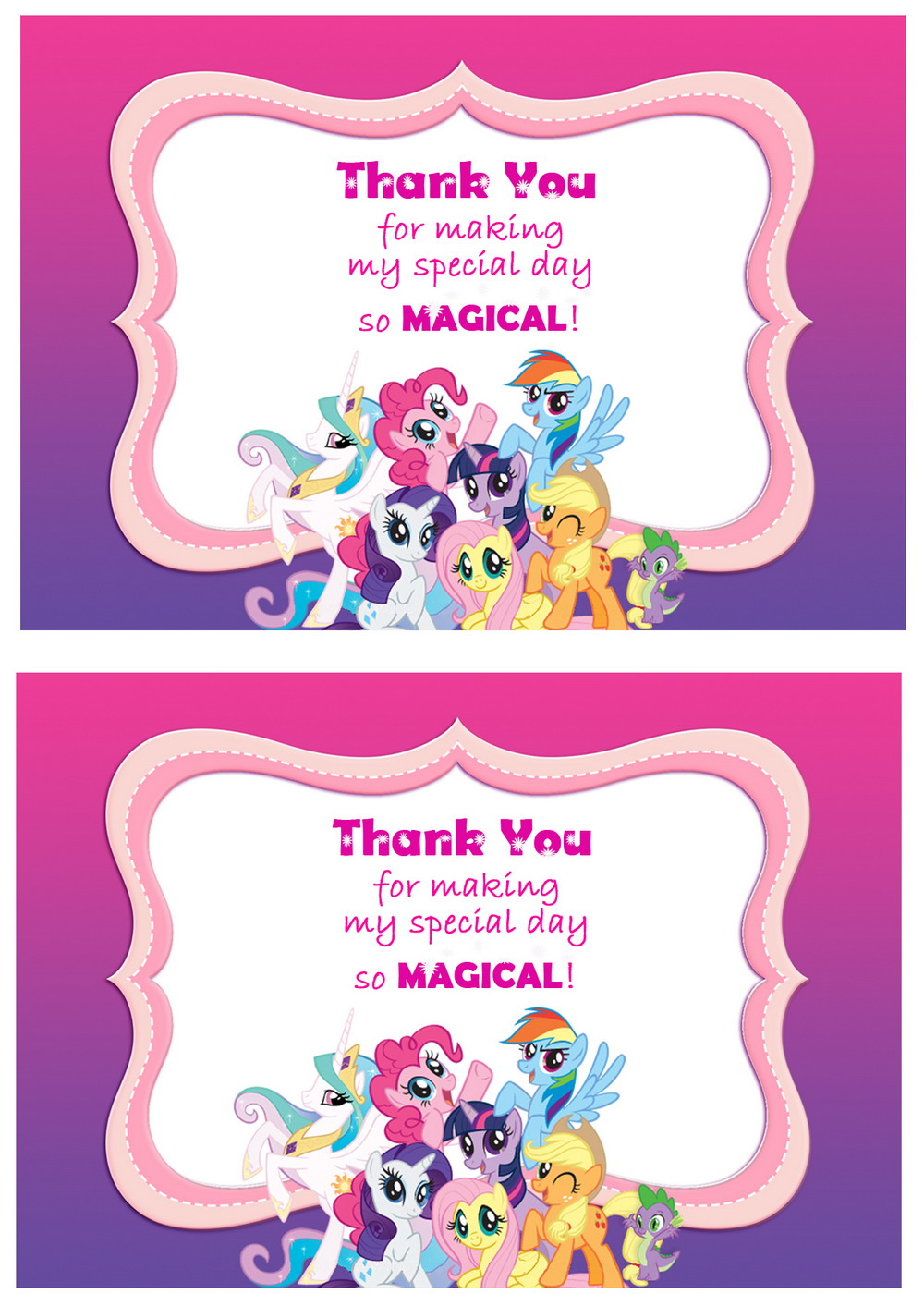 My Little Pony Thank You Cards Birthday Printable