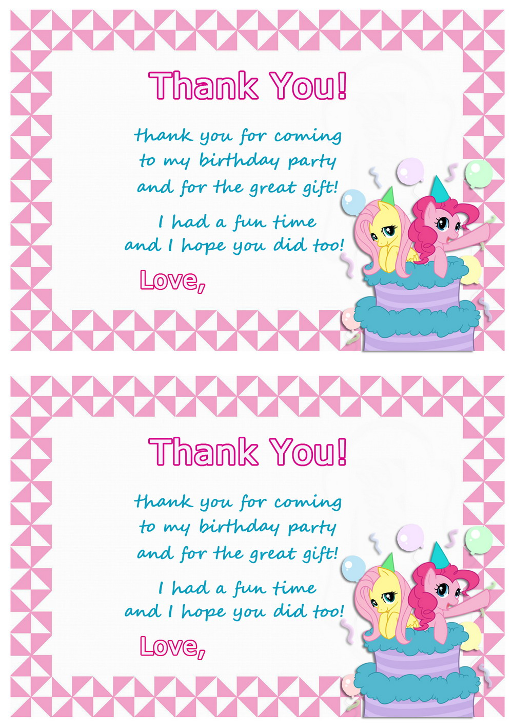 My Little Pony Thank You Cards – Birthday Printable