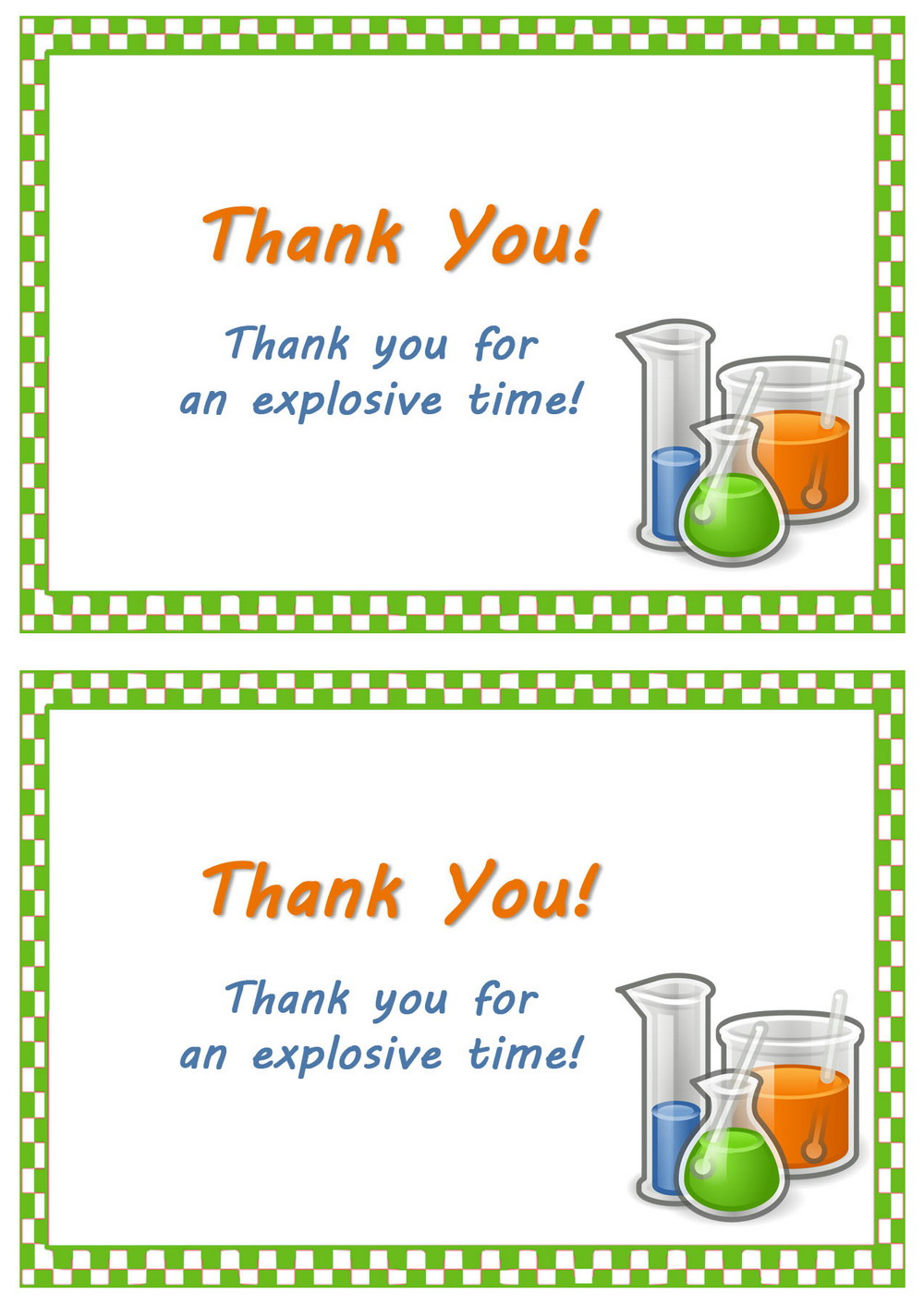 Science Thank You Cards – Birthday Printable