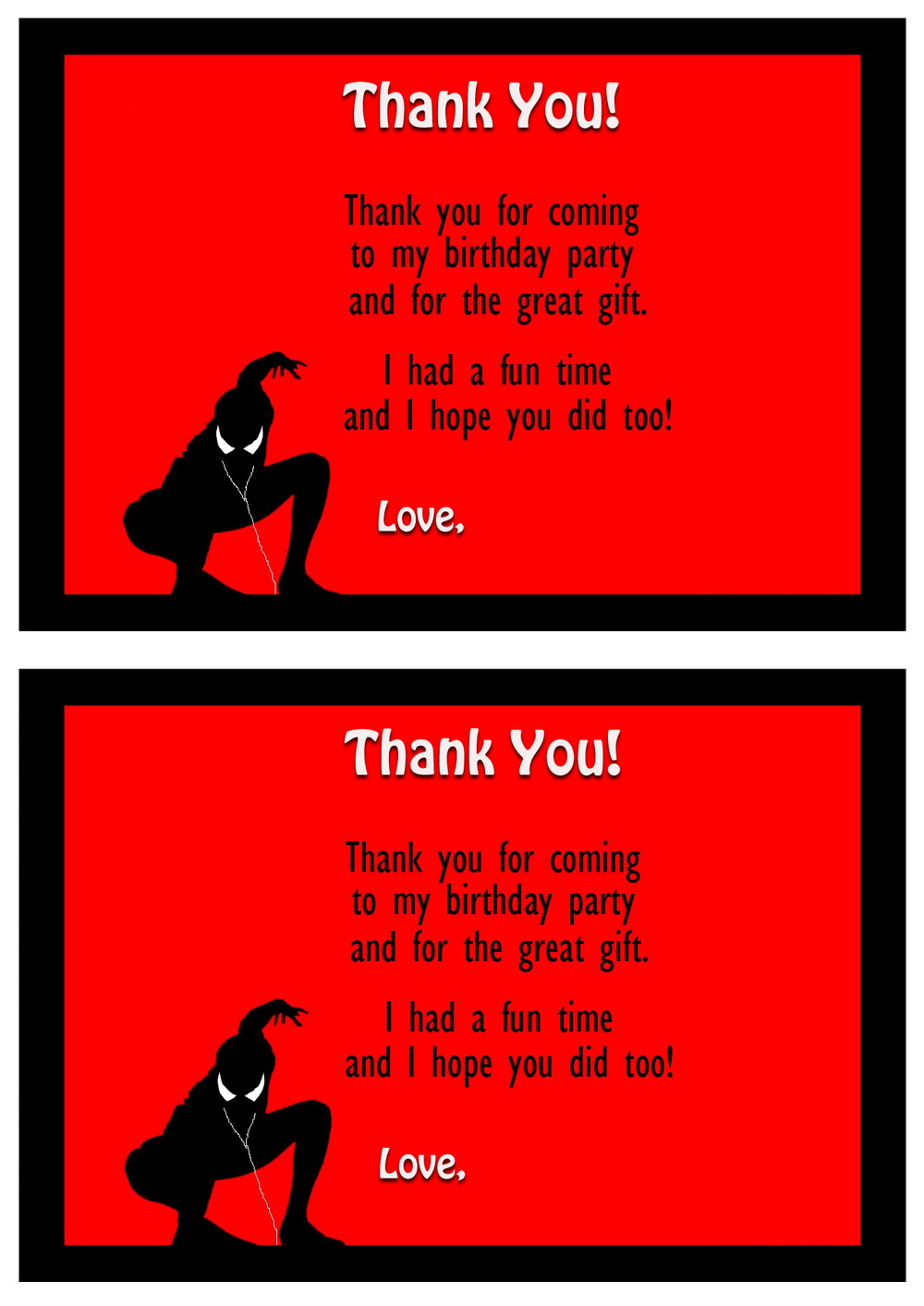 Spiderman Thank You Cards – Birthday Printable