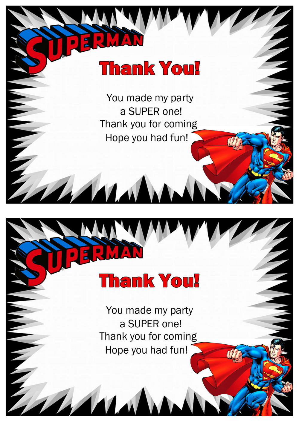 Superman Thank You Cards – Birthday Printable