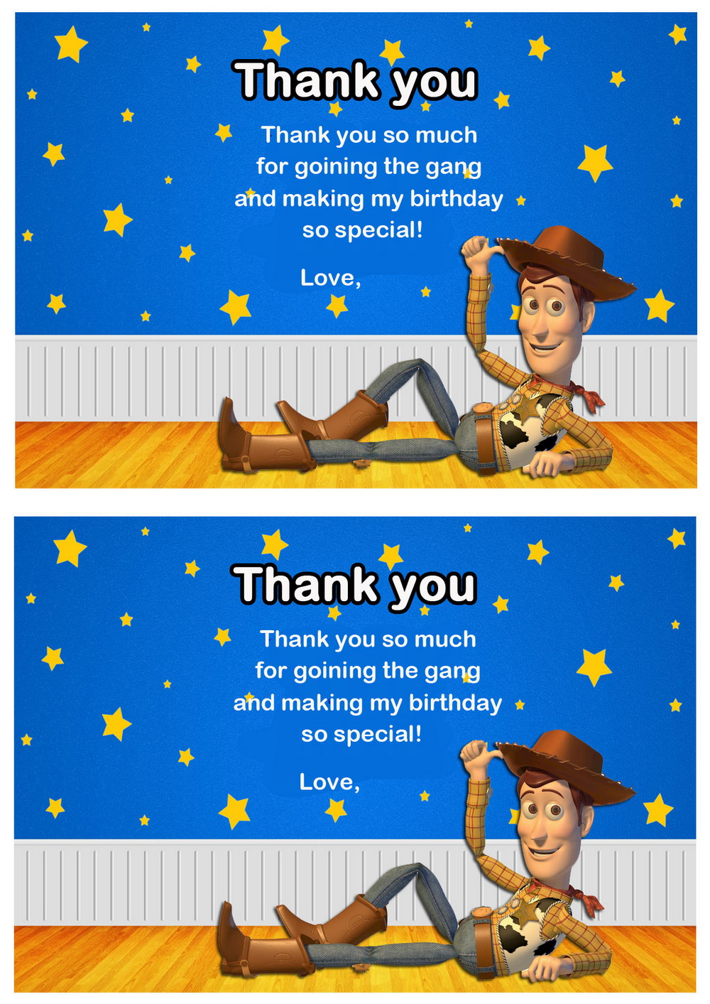 Toy Story Thank You Cards – Birthday Printable