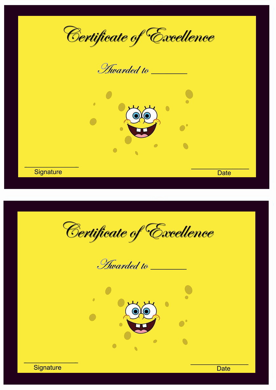 Spongebob Awards Birthday Printable