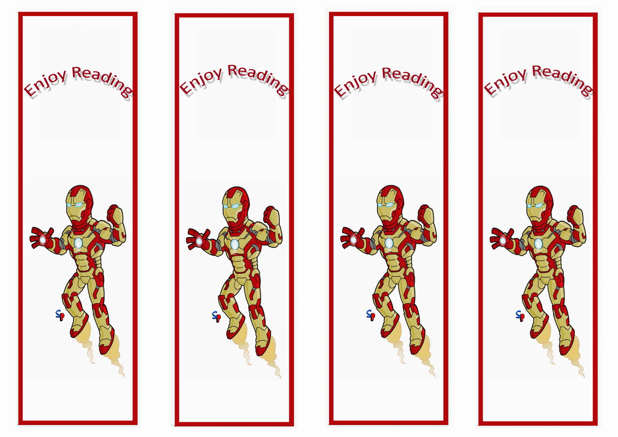 Iron Man Bookmarks Birthday Printable
