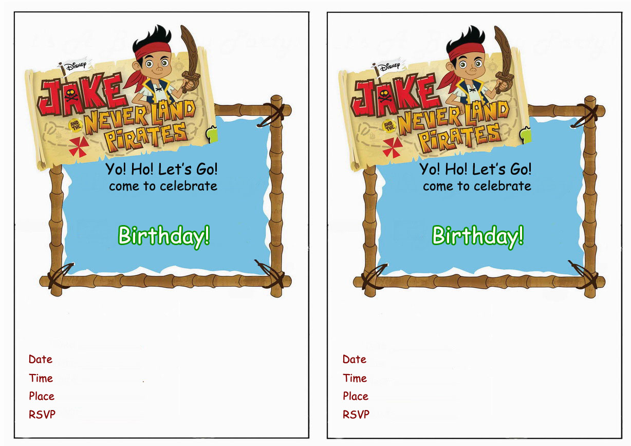 Jake And The Never Land Pirates Birthday Invitations
