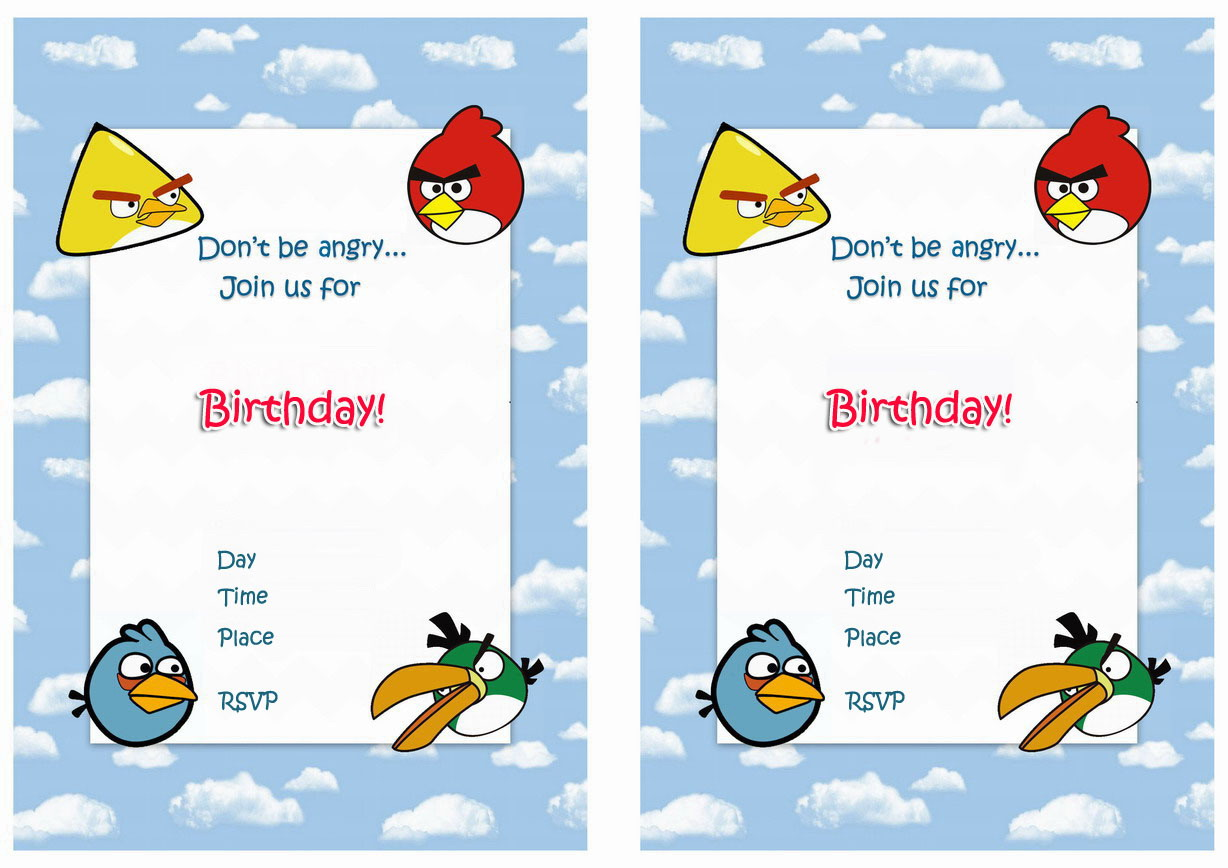 Angry Birds Party Invitation Templates