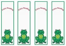 Frog Bookmraks Birthday Printable