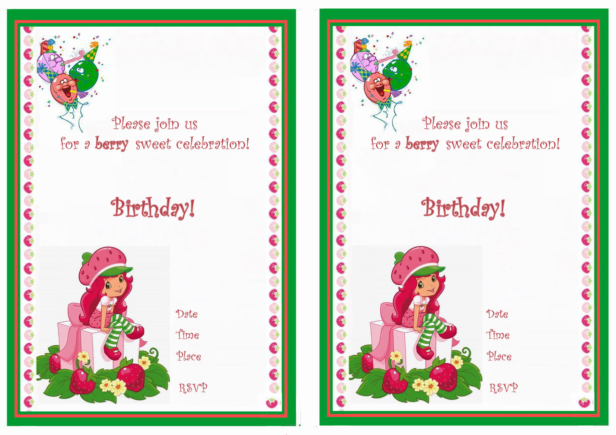 Strawberry Shortcake Birthday Invitations Birthday Printable