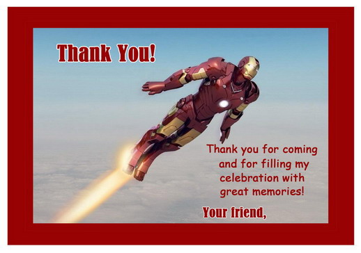 Iron Man Thank You Cards – Birthday Printable