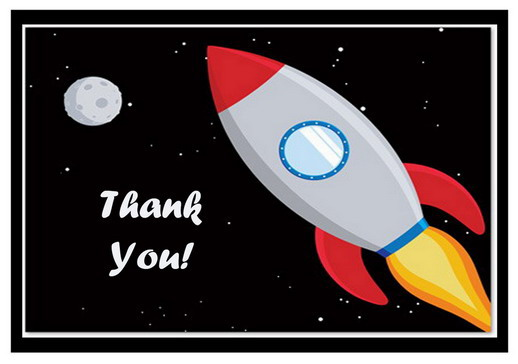 Space Thank You Cards – Birthday Printable