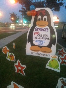 Penguin Lawn Sign with Fish , Star fish and Frogs Lawn Ornaments