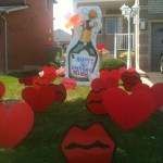 Champagne Bottle Lawn Sign with Hearts and Lips