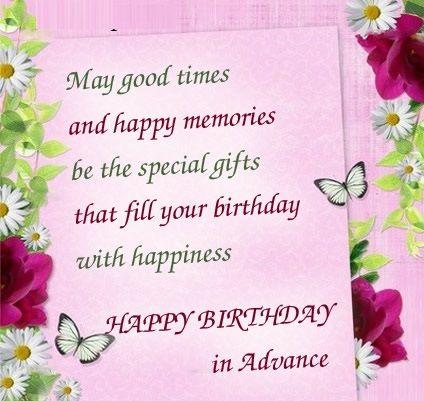 Advance Happy Birthday Wishes Early Birthday Wishes – Happy Early Birthday Card