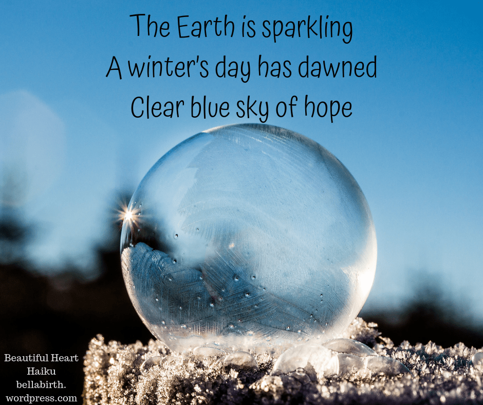 The earth is sparkling A winter's day has dawned Clear blue sky of hope.png