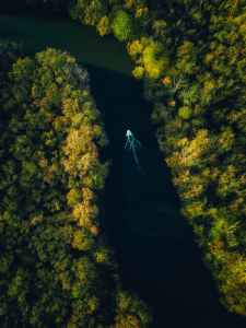 lonely boat on river with green shores
