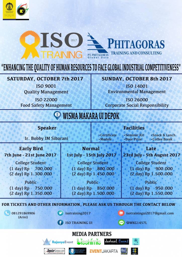 "ISO TRAINING 2017 dengan tema ""Enhancing The Quality of Human Resources to Face Global Industrial Competitiveness"""