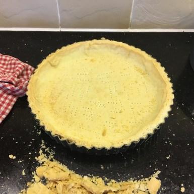 Shortcrust pastry shell for Bakewell tart