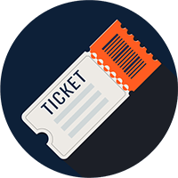 Ticket stub icon for the event filming section of business videos page