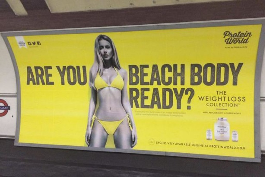 Poster for Protein world for their London marketing campaign, asking Londoners if they are beach body ready.