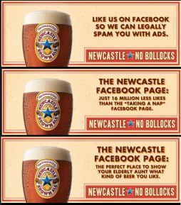 The facebook Cover images of newcastle brown ale's facebook page. the company that uses anna kendrick for their Celebrity Influencer Marketing
