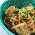 Spicy Sriracha Peanut Noodles with Cornmeal Battered Fried Tofu