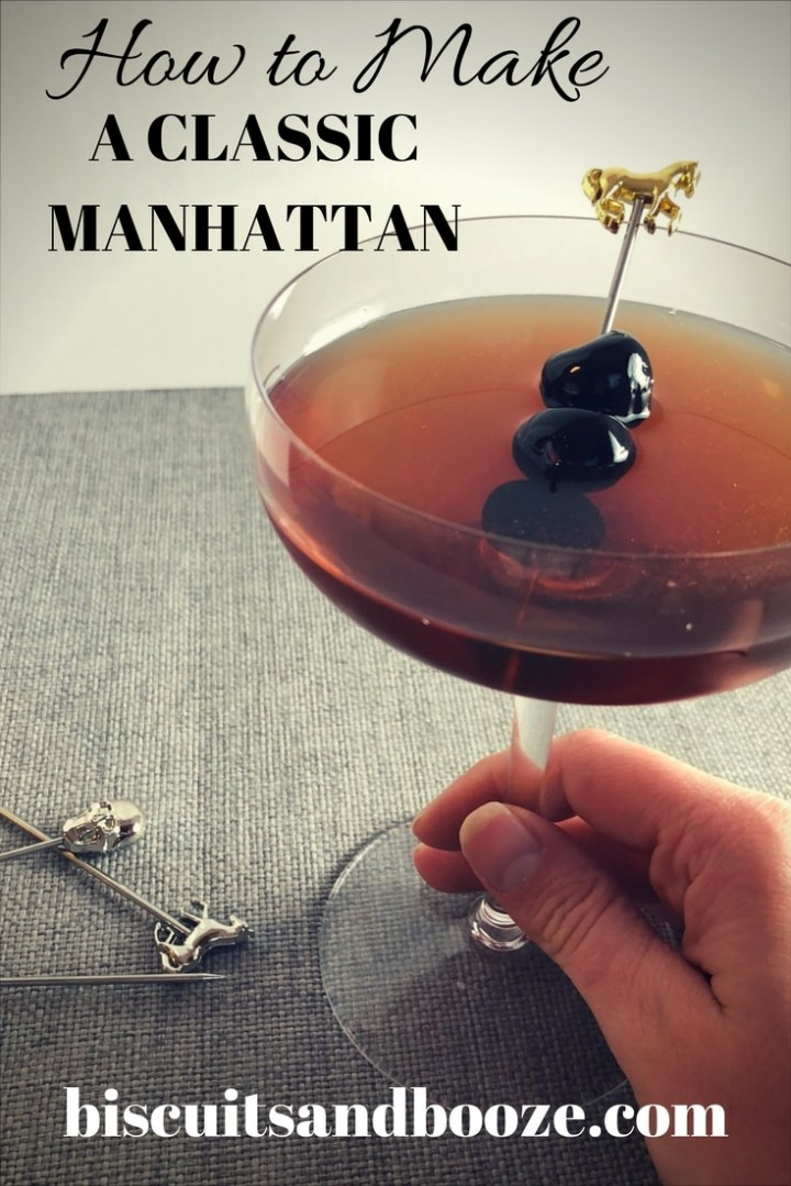 There is nothing like a classic Manhattan, a whiskey base and garnished with boozy cherries.  While it's great year round, it's a perfect winter cocktail hour drink, and learning how to make a Manhattan Cocktail will surely impress at your next dinner party! #howtomakeamanhattan #whiskeycocktail #howtomakeawhiskeycocktail #drinks #homebartender #wintercocktail #classiccocktail #howtomakeaclasiccocktail
