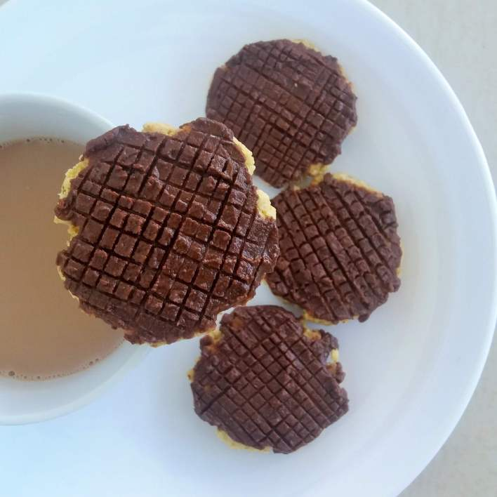 These are chocolate covered oats biscuits, just because we cannot have enough chocolates!