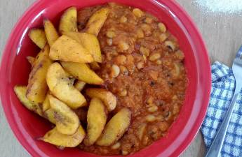 Red red is simply fried plantains with beans stew.