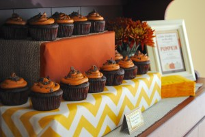 Cupcake stand of chocolate pumpkin cupcakes