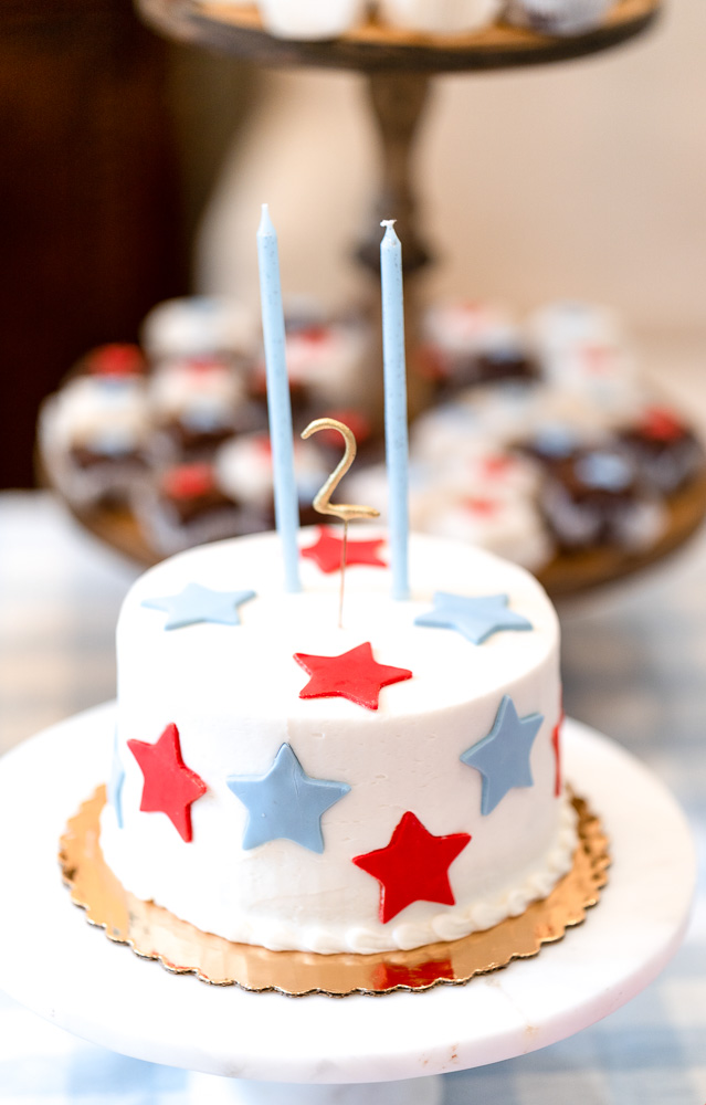 red white and blue cake with 2