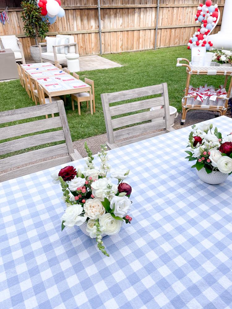 backyard party set up