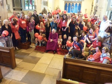 Bishop Robert at the end of the children's walk St Mary's