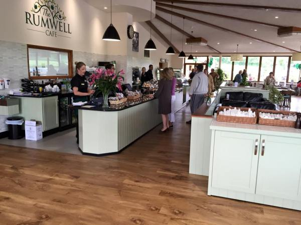 Some of the first customers inside the beautiful new Rumwell Shop Cafe.