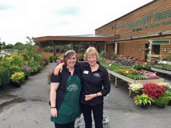 Jacqui Manning and Anne Mitchell, welcome customers to opening of Rumwell Farm Shop's new cafe.