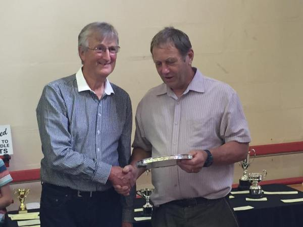 Mr T Nash Silver Salver for most prize cards in Veg, Flower & Fruit Sections – Allan Cavill